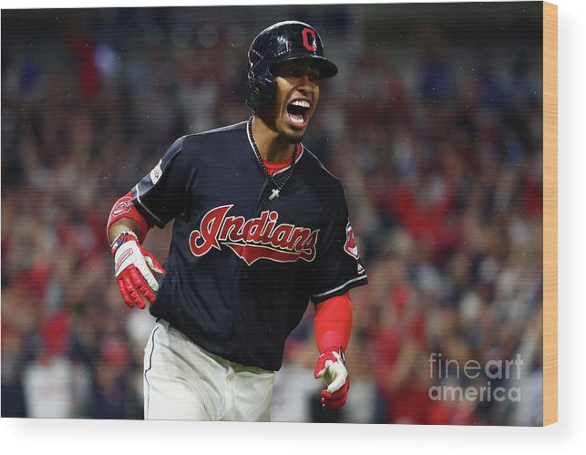 Game Two Wood Print featuring the photograph Francisco Lindor by Gregory Shamus