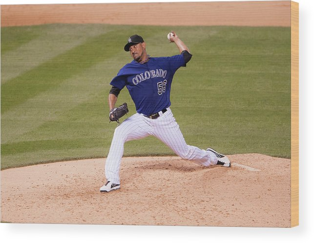 Baseball Pitcher Wood Print featuring the photograph Franklin Morales by Dustin Bradford