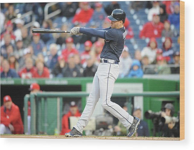 Motion Wood Print featuring the photograph Freddie Freeman by Mitchell Layton