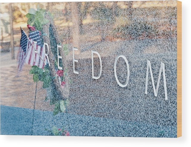 Etching Wood Print featuring the photograph Freedom. Korean War Veterans Memorial. Washington. by Travelif
