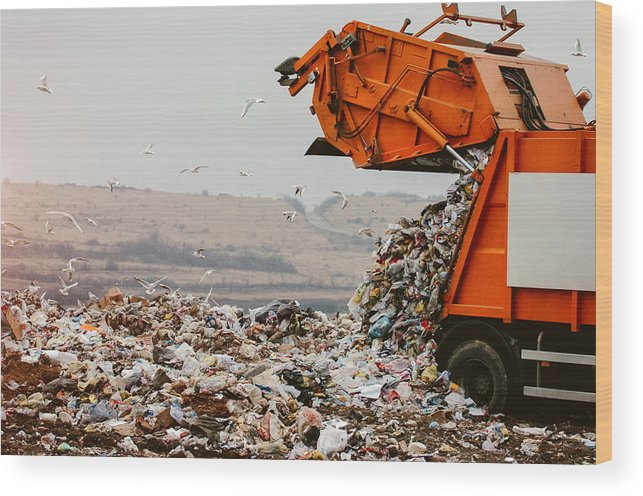 Environmental Damage Wood Print featuring the photograph Garbage truck dumping the garbage by Choice76