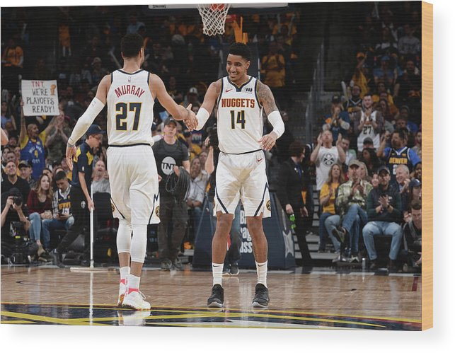 Nba Pro Basketball Wood Print featuring the photograph Gary Harris and Jamal Murray by Bart Young