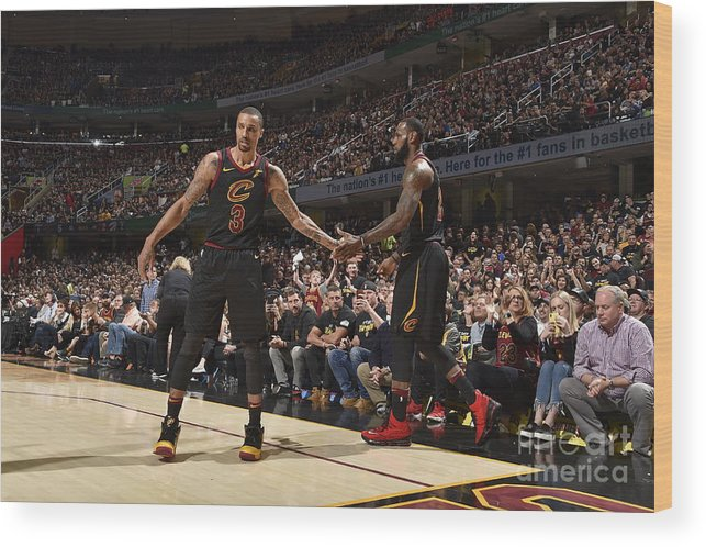 Playoffs Wood Print featuring the photograph George Hill and Lebron James by Jeff Haynes