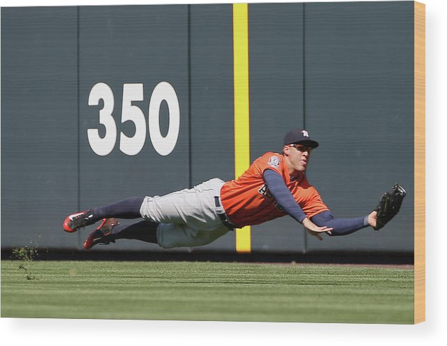 People Wood Print featuring the photograph George Springer and Dj Lemahieu by Doug Pensinger