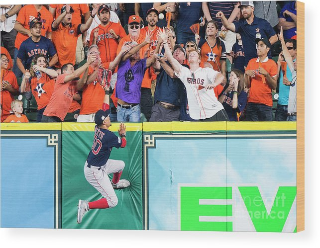 Game Two Wood Print featuring the photograph George Springer and Mookie Betts by Billie Weiss/boston Red Sox