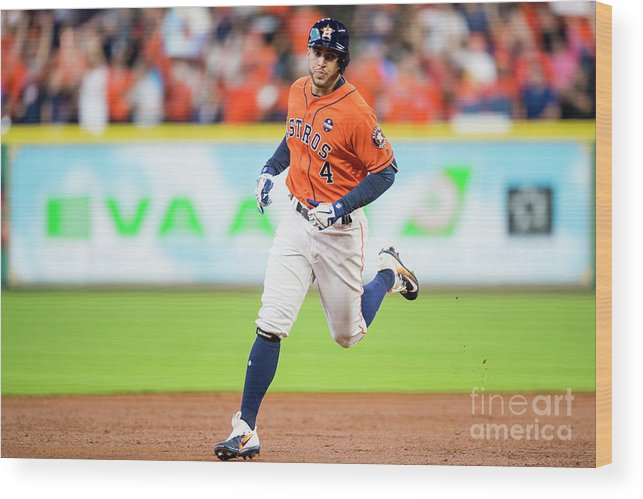 Game Two Wood Print featuring the photograph George Springer by Billie Weiss/boston Red Sox