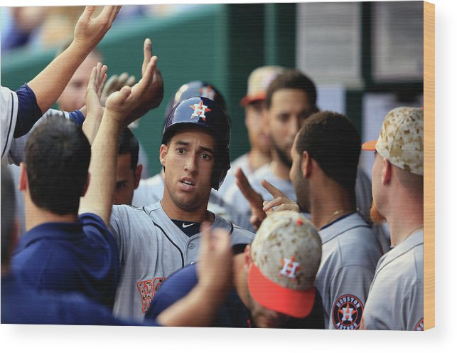 American League Baseball Wood Print featuring the photograph George Springer by Jamie Squire