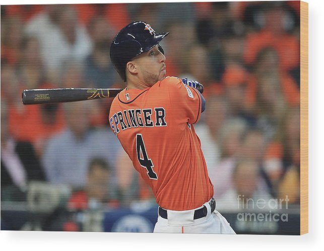 Game Two Wood Print featuring the photograph George Springer by Ronald Martinez