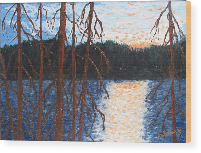 Setting Sun Wood Print featuring the painting Georgian Bay Ghosts by Ian MacDonald
