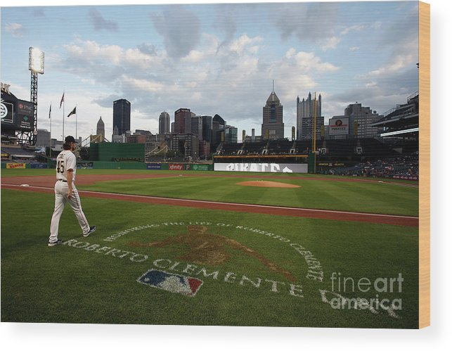 People Wood Print featuring the photograph Gerrit Cole and Roberto Clemente by Justin K. Aller