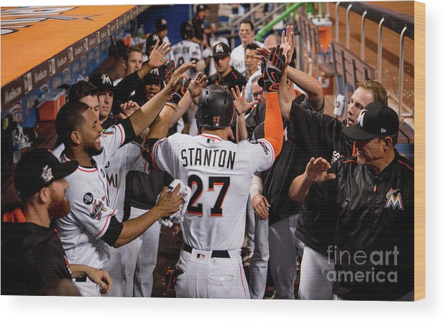 People Wood Print featuring the photograph Giancarlo Stanton by Rob Foldy/miami Marlins