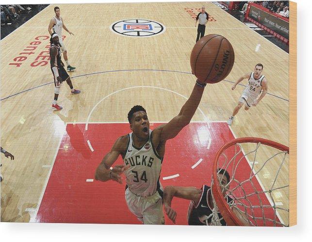 Nba Pro Basketball Wood Print featuring the photograph Giannis Antetokounmpo by Adam Pantozzi