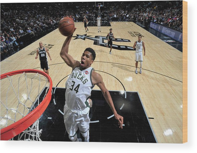 Nba Pro Basketball Wood Print featuring the photograph Giannis Antetokounmpo by Mark Sobhani