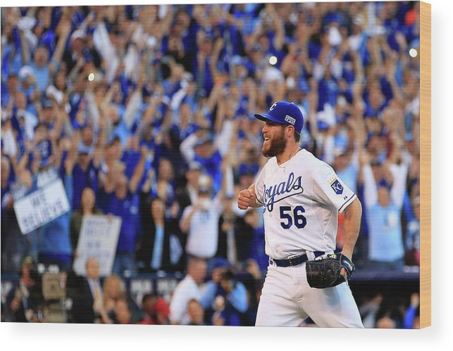 American League Baseball Wood Print featuring the photograph Greg Holland by Jamie Squire