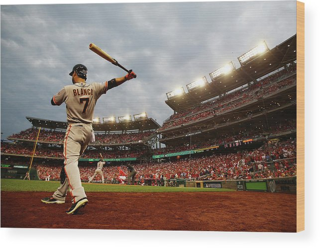 National League Baseball Wood Print featuring the photograph Gregor Blanco by Al Bello