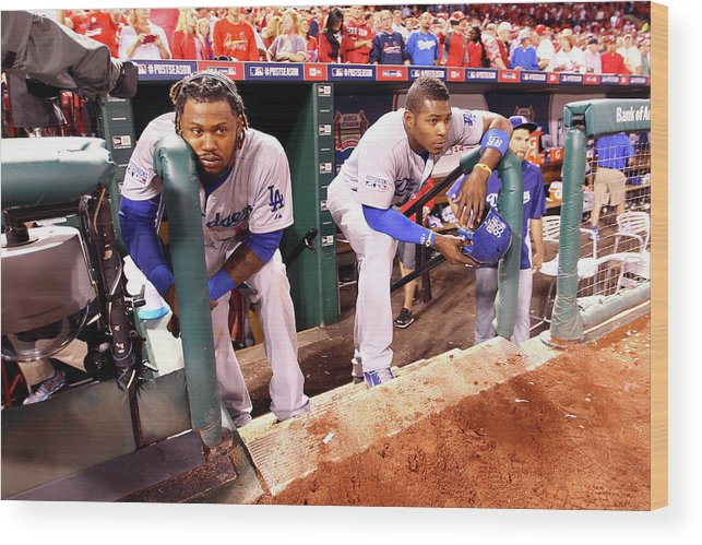 American League Baseball Wood Print featuring the photograph Hanley Ramirez and Yasiel Puig by Jamie Squire