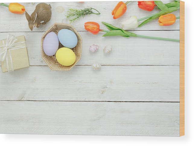 Easter Bunny Wood Print featuring the photograph High Angle View Of Easter Eggs In Bowl On Table by Chattrawutt Hanjukkam / EyeEm