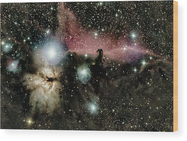 Astro Wood Print featuring the photograph Horsehead and flame nebulae by Nunzio Mannino