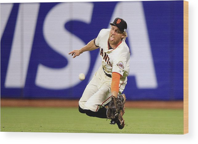 San Francisco Wood Print featuring the photograph Hunter Pence and Lorenzo Cain by Jamie Squire