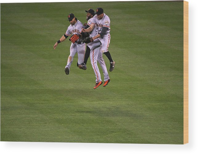 People Wood Print featuring the photograph Hunter Pence, Denard Span, and Angel Pagan by Doug Pensinger
