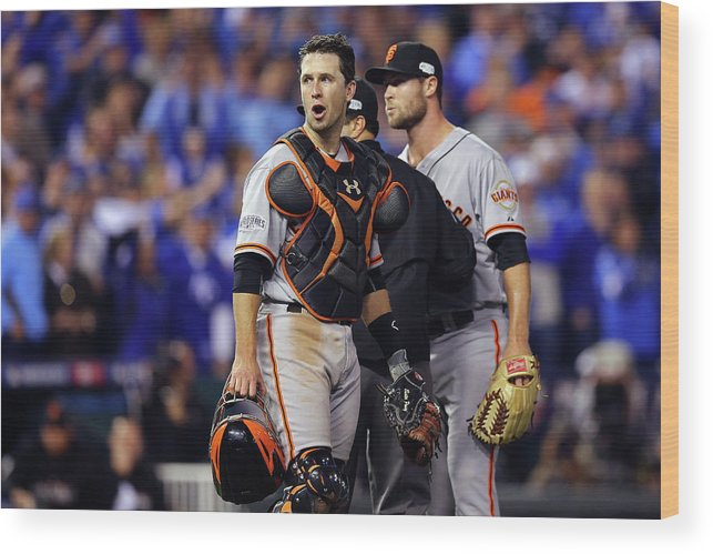 Game Two Wood Print featuring the photograph Hunter Strickland and Buster Posey by Elsa