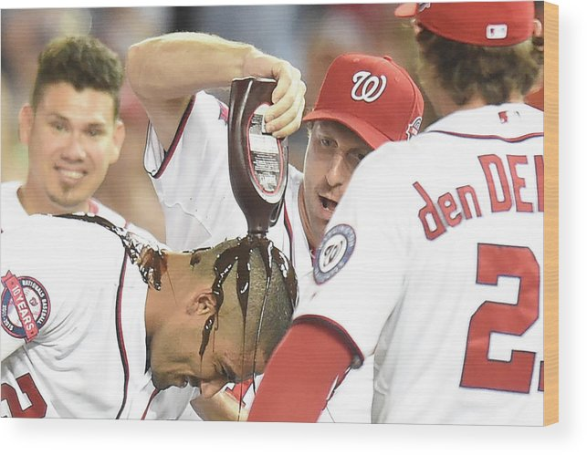 People Wood Print featuring the photograph Ian Desmond, Max Scherzer, and Bryce Harper by Mitchell Layton