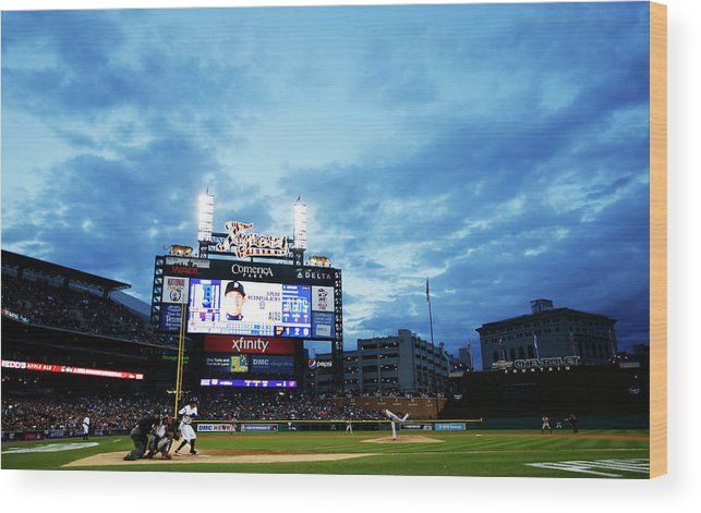 American League Baseball Wood Print featuring the photograph Ian Kinsler and Andrew Miller by Gregory Shamus
