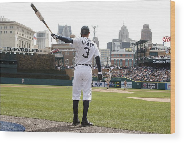 American League Baseball Wood Print featuring the photograph Ian Kinsler by John Grieshop