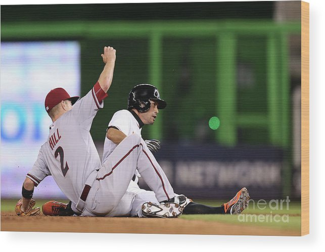 People Wood Print featuring the photograph Ichiro Suzuki and Aaron Hill by Rob Foldy