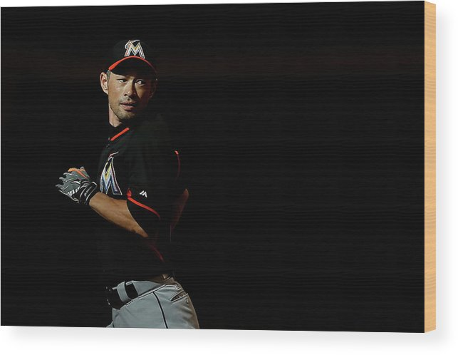 People Wood Print featuring the photograph Ichiro Suzuki by Christian Petersen