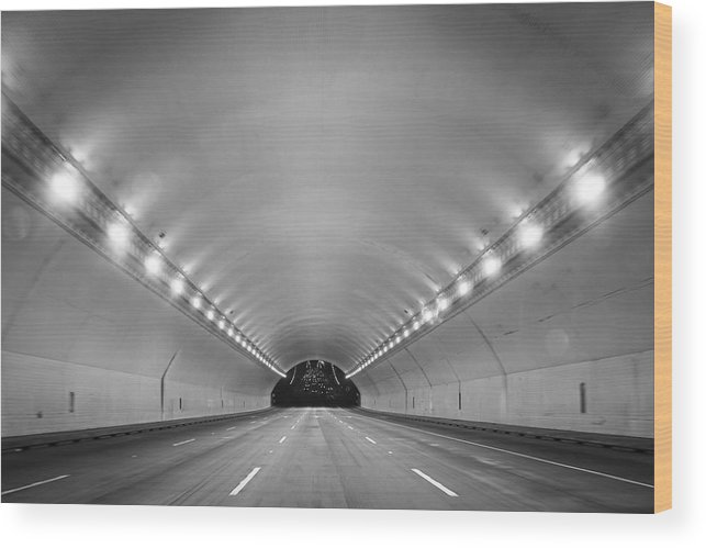 Ceiling Wood Print featuring the photograph Interior Of Illuminated Tunnel by Jesse Coleman / EyeEm