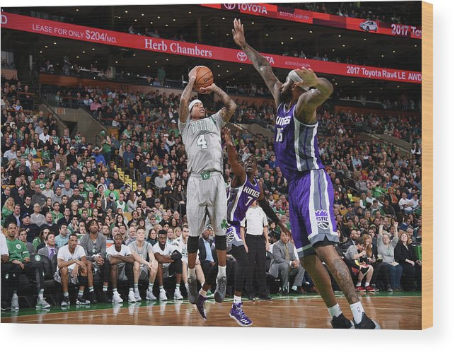 Nba Pro Basketball Wood Print featuring the photograph Isaiah Thomas and Demarcus Cousins by Brian Babineau