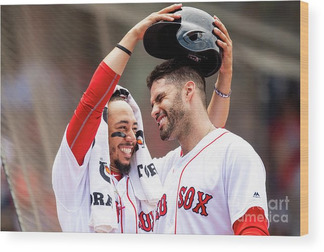 Headwear Wood Print featuring the photograph J. D. Martinez by Billie Weiss/boston Red Sox