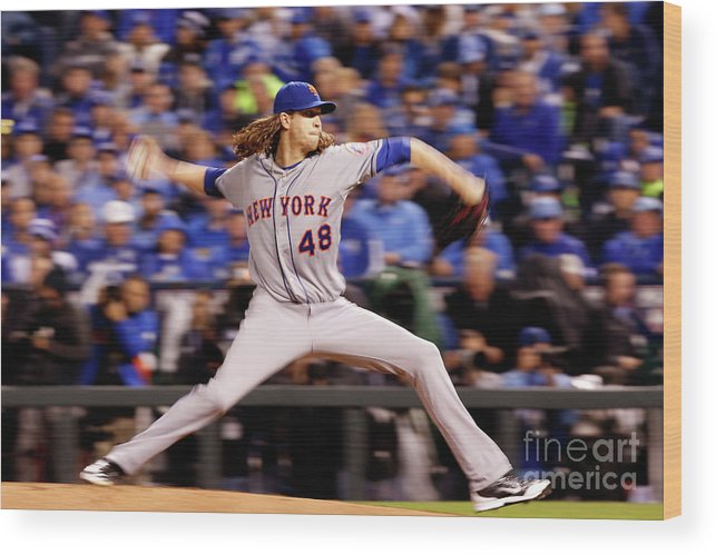 Jacob Degrom Wood Print featuring the photograph Jacob Degrom by Christian Petersen