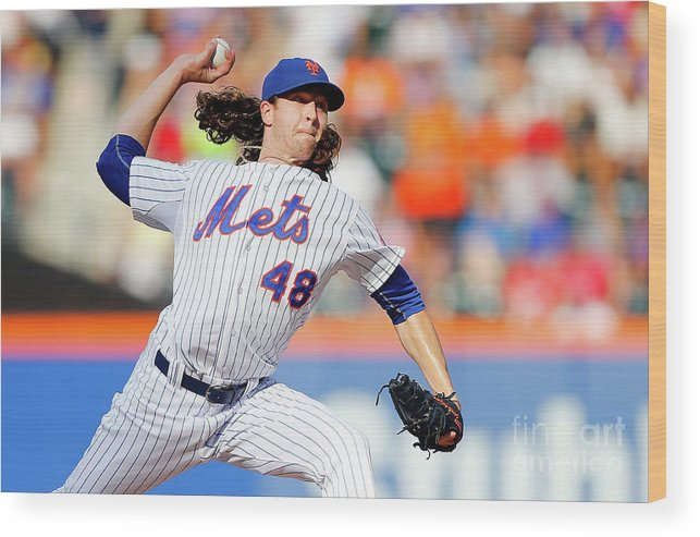 Jacob Degrom Wood Print featuring the photograph Jacob Degrom by Jim Mcisaac