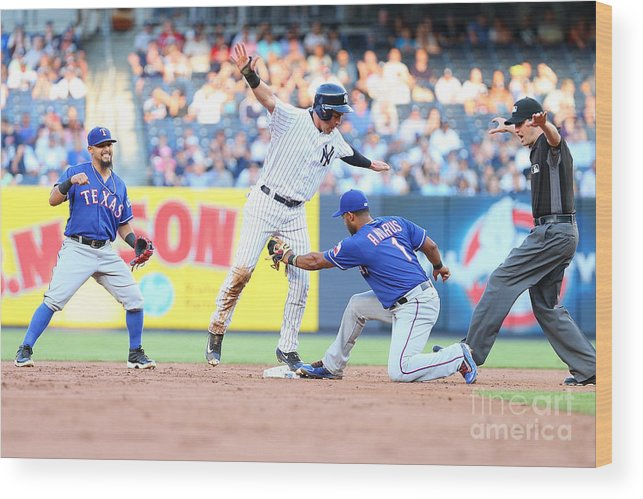 People Wood Print featuring the photograph Jacoby Ellsbury and Elvis Andrus by Mike Stobe