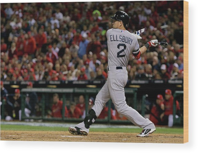 American League Baseball Wood Print featuring the photograph Jacoby Ellsbury and Stephen Drew by Elsa