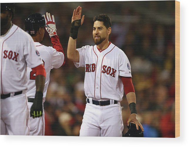 American League Baseball Wood Print featuring the photograph Jacoby Ellsbury and Xander Bogaerts by Elsa