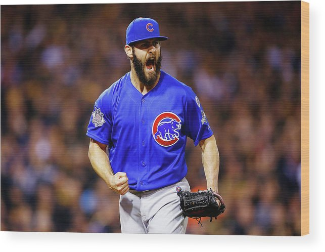 Playoffs Wood Print featuring the photograph Jake Arrieta by Jared Wickerham