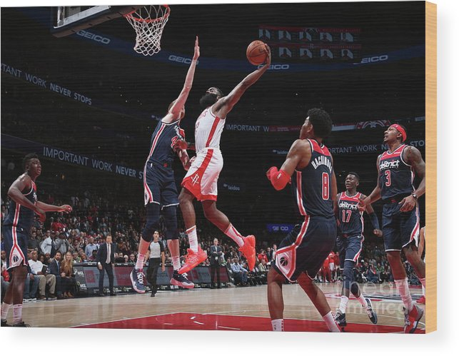 Nba Pro Basketball Wood Print featuring the photograph James Harden by Ned Dishman