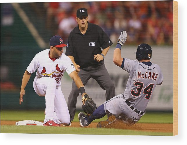 St. Louis Cardinals Wood Print featuring the photograph James Mccann And Jhonny Peralta by Dilip Vishwanat