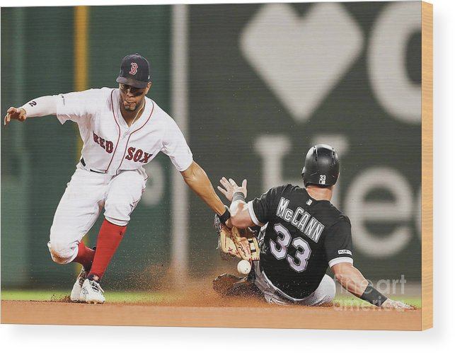 People Wood Print featuring the photograph James Mccann and Xander Bogaerts by Adam Glanzman
