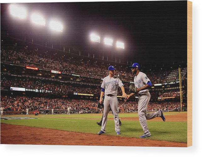 San Francisco Wood Print featuring the photograph James Shields and Lorenzo Cain by Rob Carr