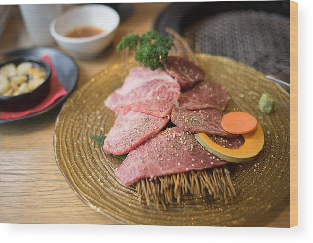 Crockery Wood Print featuring the photograph Japanese Wagyu Beef by Skaman306