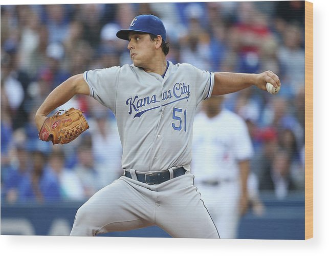 American League Baseball Wood Print featuring the photograph Jason Vargas by Tom Szczerbowski