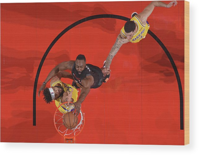 Nba Pro Basketball Wood Print featuring the photograph Javale Mcgee, James Harden, and Lonzo Ball by Andrew D. Bernstein