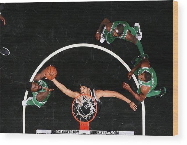 Nba Pro Basketball Wood Print featuring the photograph Jaylen Brown and Jarrett Allen by Nathaniel S. Butler