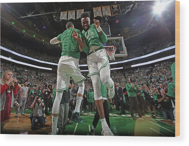 Playoffs Wood Print featuring the photograph Jaylen Brown and Jayson Tatum by Nathaniel S. Butler