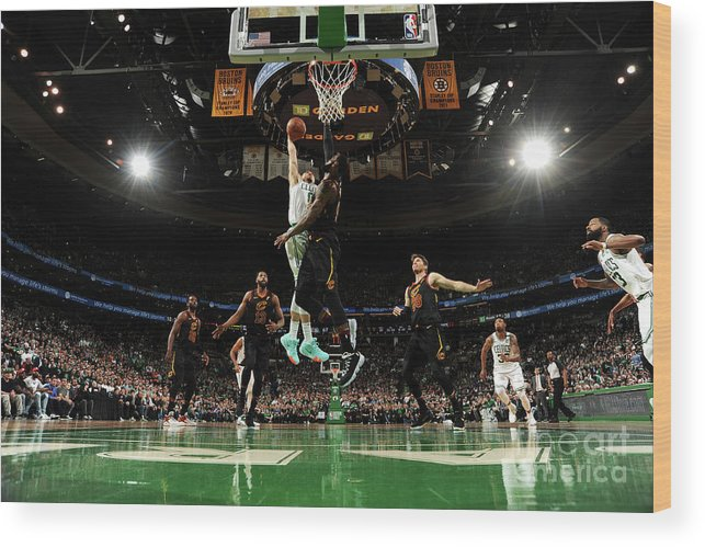 Playoffs Wood Print featuring the photograph Jayson Tatum and Lebron James by Brian Babineau