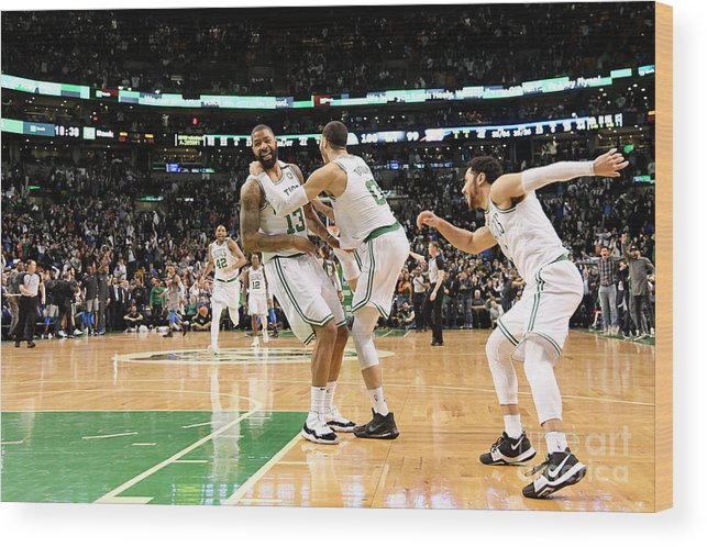 Nba Pro Basketball Wood Print featuring the photograph Jayson Tatum and Marcus Morris by Brian Babineau